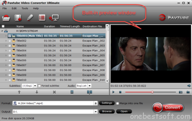 pavtube video converter ultimate preview window