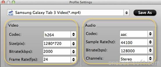 Galaxy Tab S Video Settings