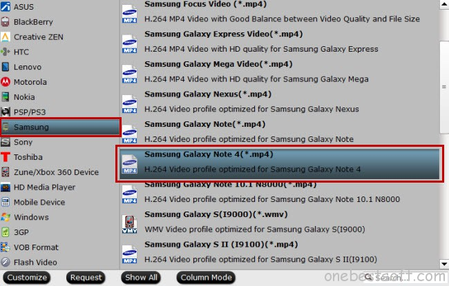 Galaxy Note 4 supported format