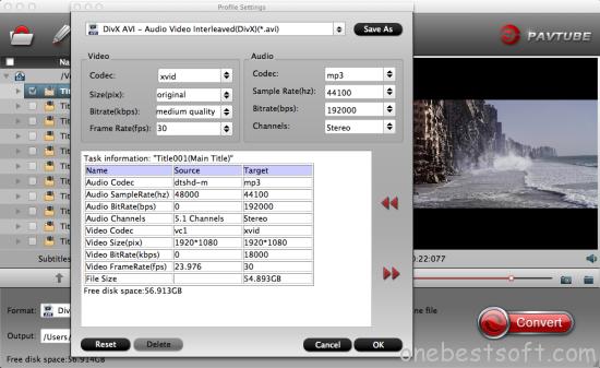 AVI video settings