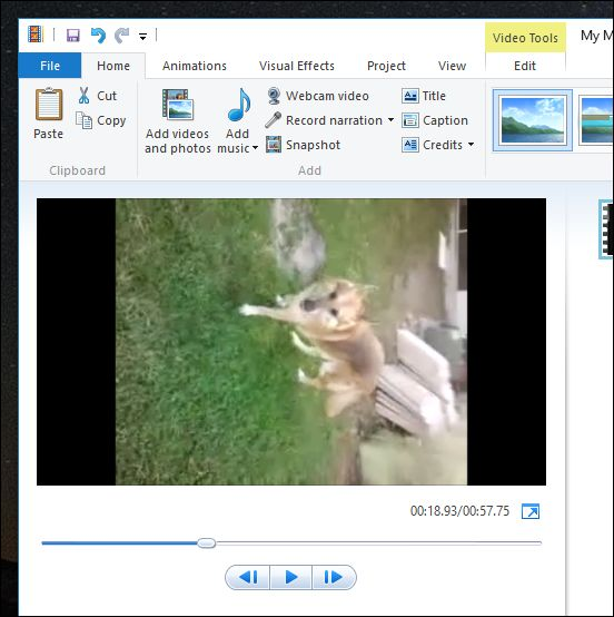 import the video to windows movie marker